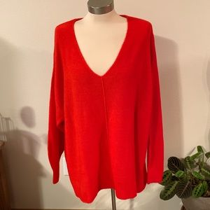 NWT • red v neck sweater